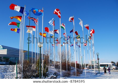 international flags at front of Calgary Olympic Park