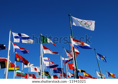 international flags for Olympic events on blue sky (Calgary Olympic Park)