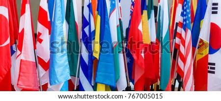 International flags in a row.