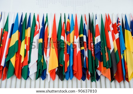 International flags in a row. - stock photo