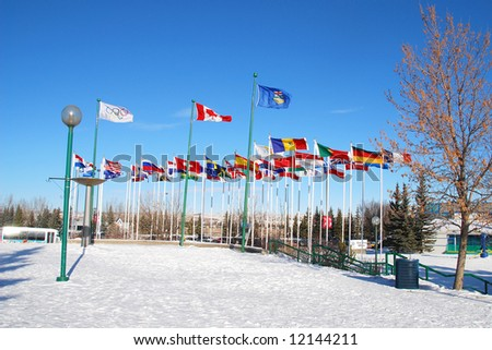 international flags in front of Canada Olympic Park, Calgary