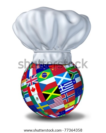 International foods and cuisines of the world represented by a restaurant chef hat and flags of countries on a sphere resting on the floor.
