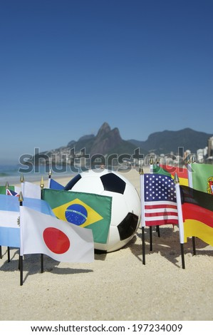 International football country flags with soccer ball on Ipanema beach in Rio de Janeiro Brazil
