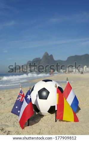 International football country Group B team flags with soccer ball on Ipanema beach in Rio de Janeiro Brazil