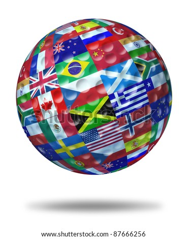 International golf tournament champion symbol with a golf ball and flags of the world countries showing the concept of global golfing sports competition winning and world golf course  game activity.