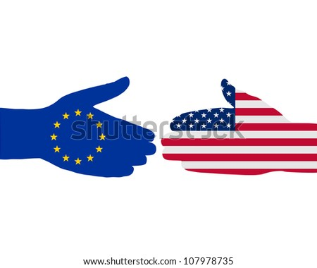 International handshake - stock photo