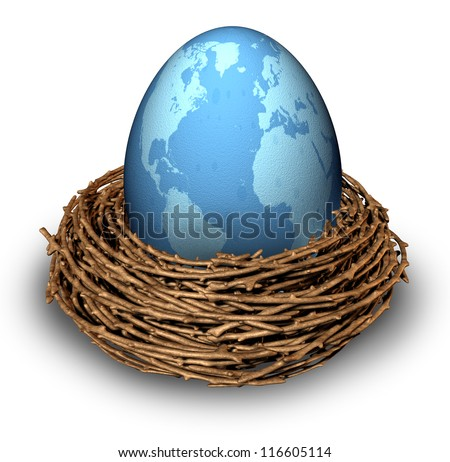 International investments and global finance business with a map of the world on a blue egg in a nest as a concept of savings and management in countries as China Russia Europe and United States.