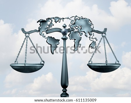International law and global legal system concept as a justice scale shaped as the world as a metaphor for diplomatic treaty agreement or relations among nations as a 3D illustration.