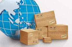 International logistics concept. Collage with globe and parcel boxes on white background. Panorama