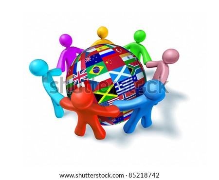 International network of world cooperation represented by a sphere globe with flags from around the world and human characters of different colors connected in a network holding hands.