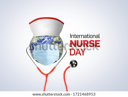 International nurse day. World nurse day concept isolated on white background. 3D Stethoscope on world globe with nurse hat. Thanks Doctor and Nurses For Saving Our Lives from COVID-19/ Coronavirus.