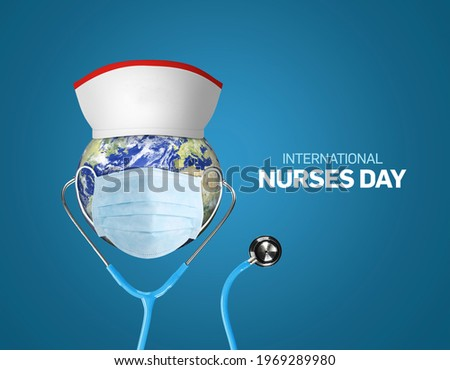 International nurses day. World nurse day concept isolated on blue background. 3D Stethoscope on world globe with nurse hat. Thanks Doctor and Nurses For Saving Our Lives from COVID-19, Coronavirus.