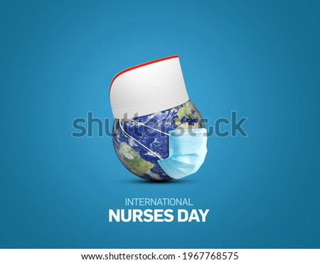 International nurses day. World nurse day concept isolated on white background. World globe with nurse hat. Thanks Doctor and Nurses For Saving Our Lives from COVID-19, Coronavirus.