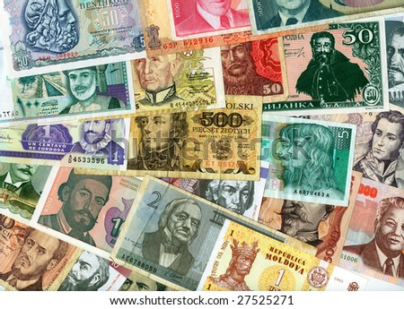 International paper currencies closeup, background.