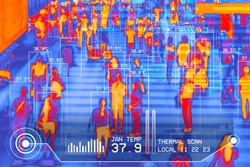 international passengers infrared thermal heat scan imaging camera sensor at airport seeking high body temperature checking system detection corona virus covid-19 infection disease, group of people