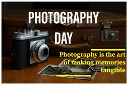 International photography day celebration typographical banner
