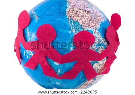 International relations - a chain of cut-out people stretched around the globe