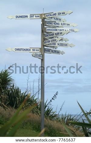 International sign post near Westport, New Zealand