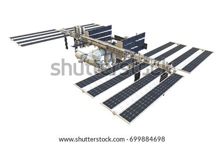 International Space Station Isolated. 3D rendering