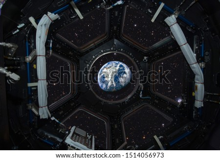 International Space Station. View of the earth from space. This image elements furnished by NASA