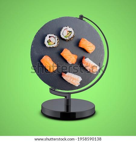 International Sushi Day, world Sushi Day, Sushi Day, Japanese food, maki rolls in a row with salmon, avocado, tuna and cucumber, Fresh hosomaki pieces with rice and nori. japanese food with sushi roll
