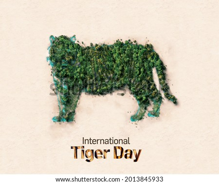 International tiger day concept 3d illustration. World Wildlife day Concept Nature reserve conserve Wildlife reserve tiger. Forest shape of tiger- environment day.