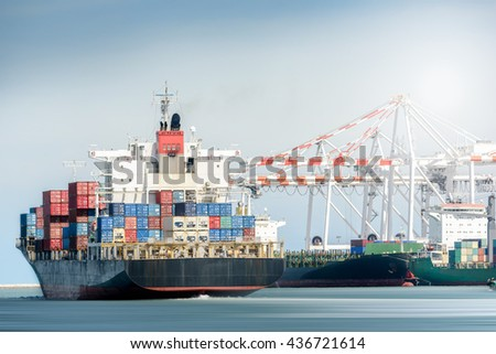 International Transportation Shipping, Container Cargo freight ship with ports crane bridge in harbor, Logistic Import Export background concept, un-mooring of containers cargo ship.