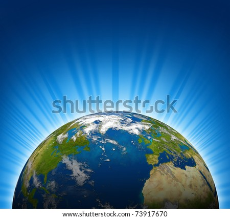 International view of North america and Europe on an Earth planet globe model with a bright radial blue background.