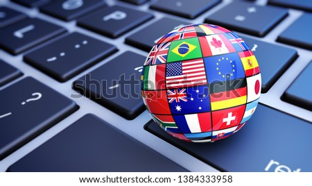 International world flags globe. Online business and worldwide web services concept with international world flags on a computer keyboard 3D illustration.