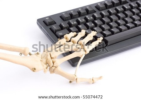 Internet addiction concept with skeleton