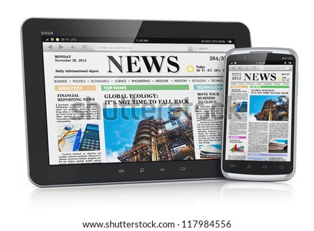 Internet and business office communication concept: tablet PC computer and touchscreen smartphone with business web news media isolated on white background with reflection effect