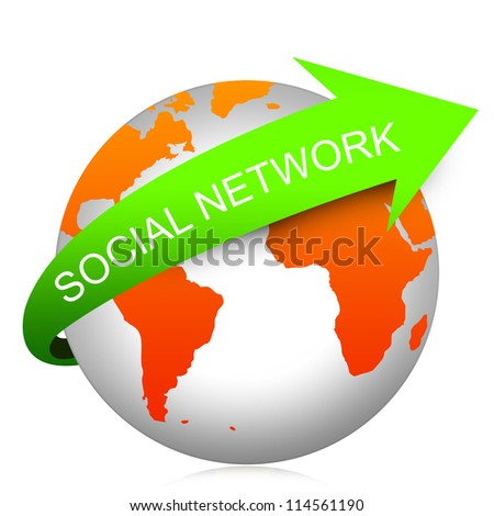 Internet And Computer Concept Present By Green Social Network Arrow On The Orange Globe Isolated On White Background