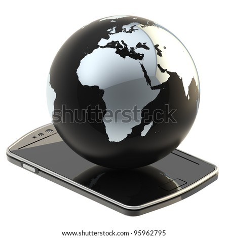 Internet and connection: Earth globe on the smart phone screen isolated on white