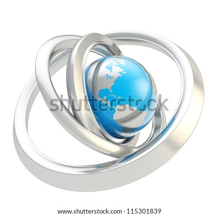 Internet and connectivity conception: Earth globe blue emblem icon inside the silver chrome metal ring torus hoops isolated on white background - stock photo