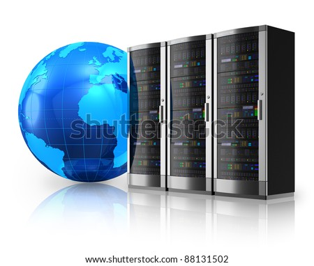 Internet and global communications concept: row of network servers and blue Earth globe isolated on white reflective background