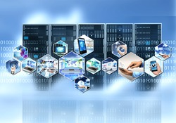 Internet and information technology with cloud server computing process