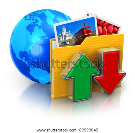 Internet and media technologies concept: download and upload folder with colorful pictures and blue Earth globe isolated on white reflective background