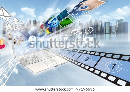 Internet and multimedia sharing concept. Illustrated  with movies, song, people, images, picture and application flying in high speed movement from a laptop screen