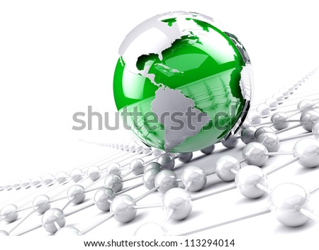 internet and networking concept,Green globe world map.