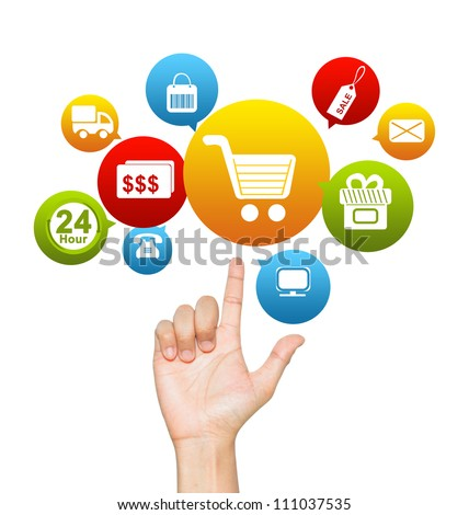 Internet and Online Shopping Concept Present by Hand With E-Commerce Icon Above Isolate on White Background