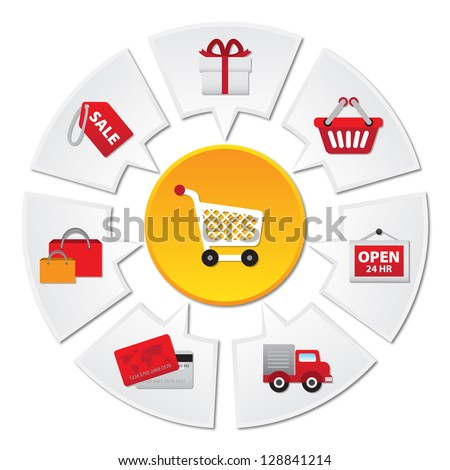 Internet and Online Shopping Concept 02 With E-Commerce Icon - Isolated on White Background