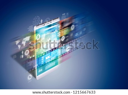 Internet broadband concept on smart phone. Showing application and multimedia flashing on screen in fast pace move. Mixed media 3d Render and photo