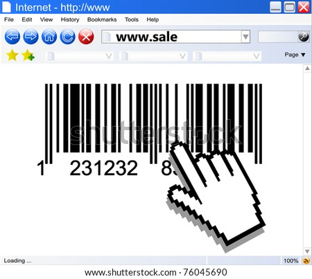 Internet browser and bar-code with computer pointers - stock photo