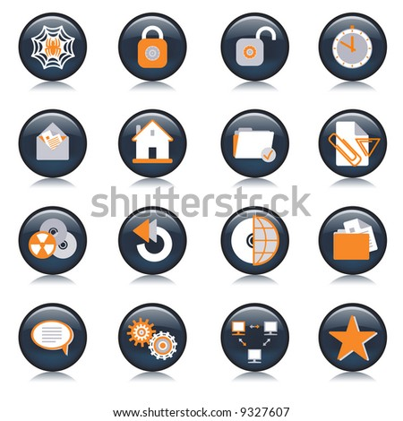 Internet browser and email icon set series. Vector illustration.