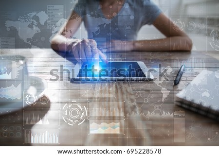 Internet, Business and technology concept. Icons, diagrams and graphs background on virtual screen. #695228578