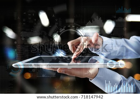 Internet, Business and technology concept. Icons, diagrams and graphs background on virtual screen. #718147942