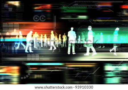 Internet business concept. Virtual people doing business inside the virtual world of internet. Illustrated with flashing website, and hitech elements of design.