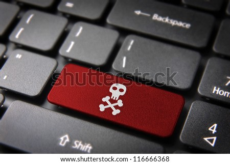 Internet business security concept: red key with skull icon on laptop keyboard. Included clipping path, so you can easily edit it.