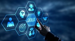 Internet, business, Technology and network concept.Coach motivation to skills improvement. Education concept. Training. Leadership skills. Human abilities.
