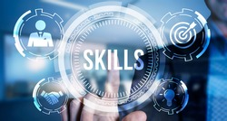 Internet, business, Technology and network concept.Coach motivation to skills improvement. Education concept. Training. Leadership skills. Human abilities